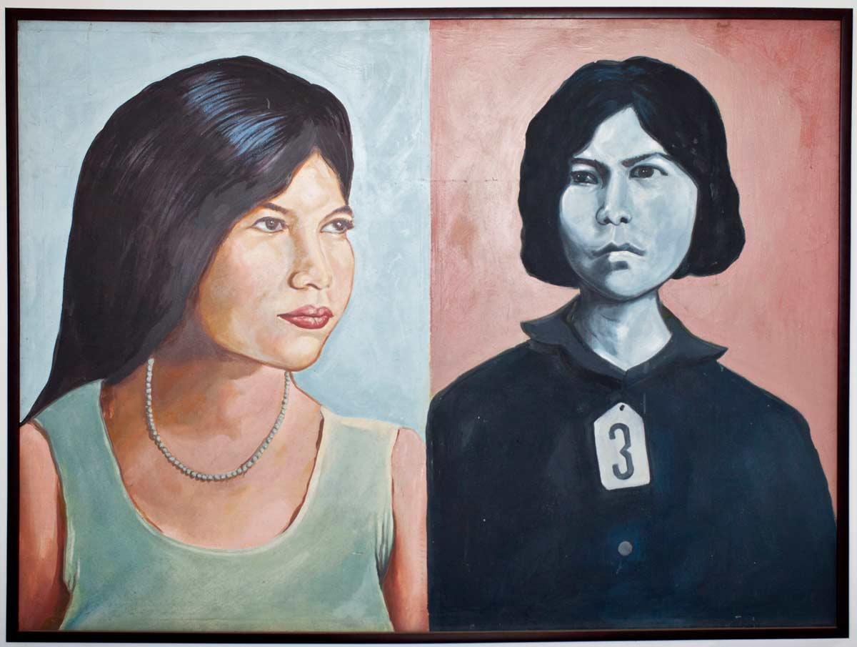 Portrait de Bophana par le peintre Vann Nath. Visible au premier étage du centre.